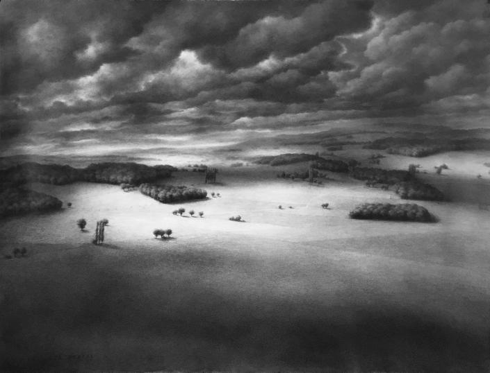 Ph.Ségéral - Grand paysage avec trouées de lumière - 119,5 x 146,5 cm - Mine de plomb sur papier marouflé sur toile - 2021