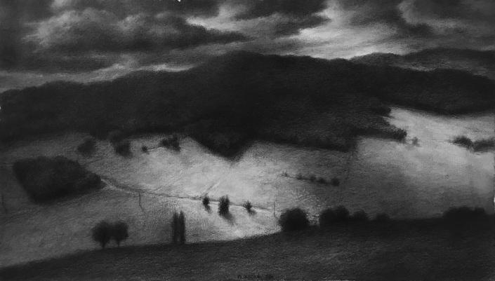 Vallée, champs et bois avec trouées de lumière, 2020, 31 x 53 cm, Mine de plomb sur papier marouflé sur toile