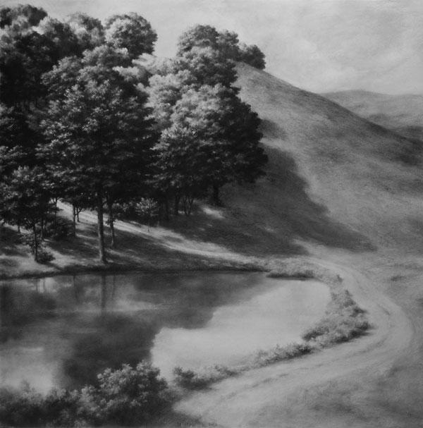 Ph.Ségéral - Lac - Mine de Plomb sur papier - 148 x 148 cm - 2011