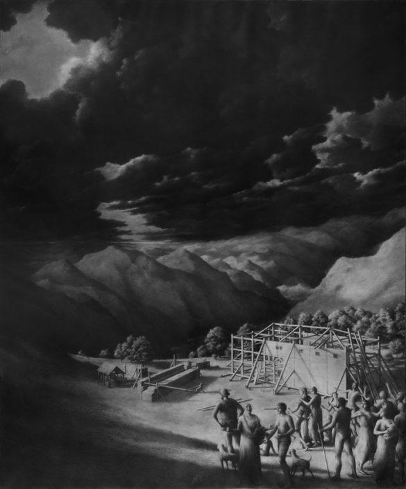 Ph.Ségéral - Noé construisant l'Arche - Mine de Plomb sur papier - 185 x 141 cm - 2015