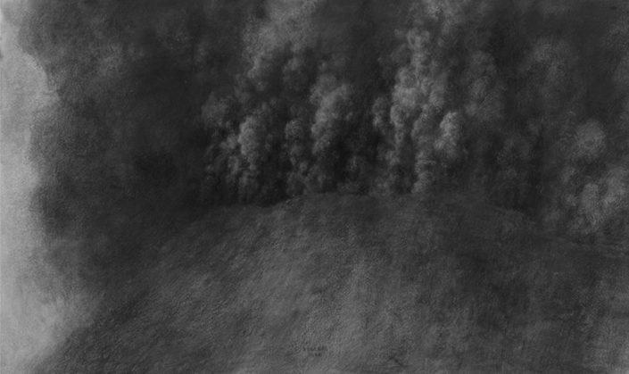Ph.Ségéral - Nuée ardente - Mine de Plomb / papier - 46 x 76 cm - 2009