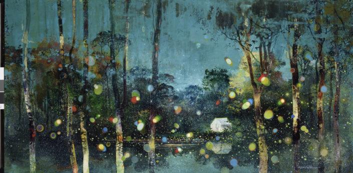 La rivière des sept lunes, 60 x 120 cm, Pigments, acrylique et poudre de marbre sur toile