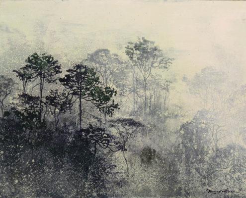 Errances volontaires - 30 x 40 cm - Pigments, acrylique et poudre de marbre sur Bois
