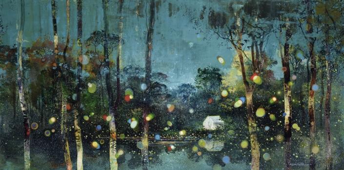 Eric Roux-Fontaine - La rivière des 7 lunes - 60 x 120 cm - Acrylique, pigments et poudre de marbre