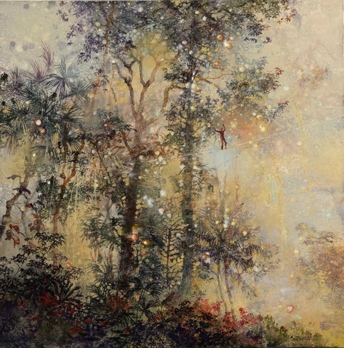 Le funambule - 80 x 80 cm - Acrylique, pigments et poudre de marbre sur toile