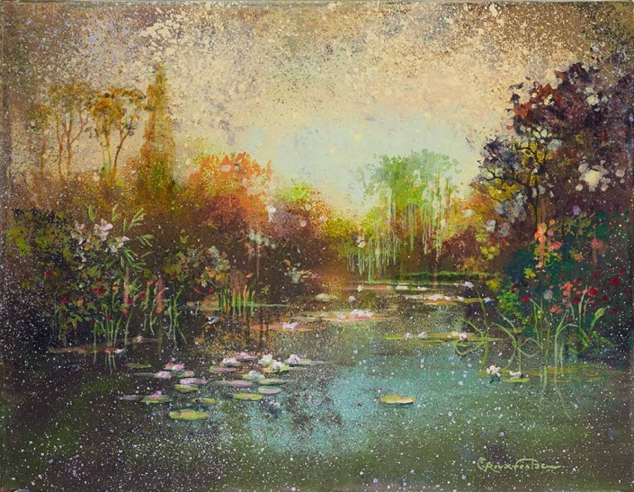 ROUX-FONTAINE - Ballade à Giverny 2 - 27 x 35 cm