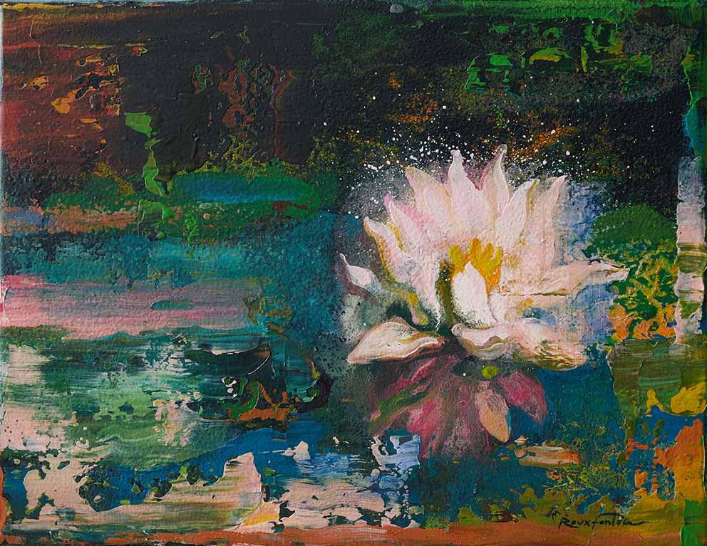 ROUX-FONTAINE - Ballade à Giverny - 27 x 35 cm