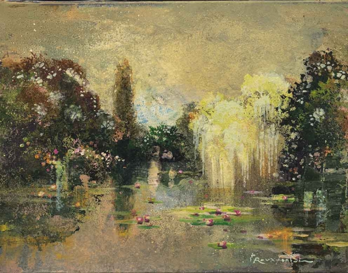 ROUX-FONTAINE - Ballade à Giverny 3 - 27 x 35 cm