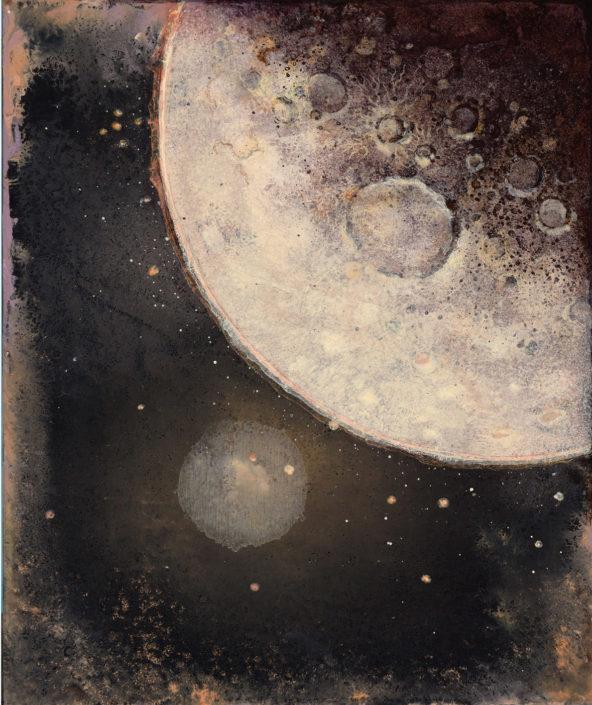 Lune II - 30 x 25 cm - Pigments, acrylique et poudre de marbre sur Bois