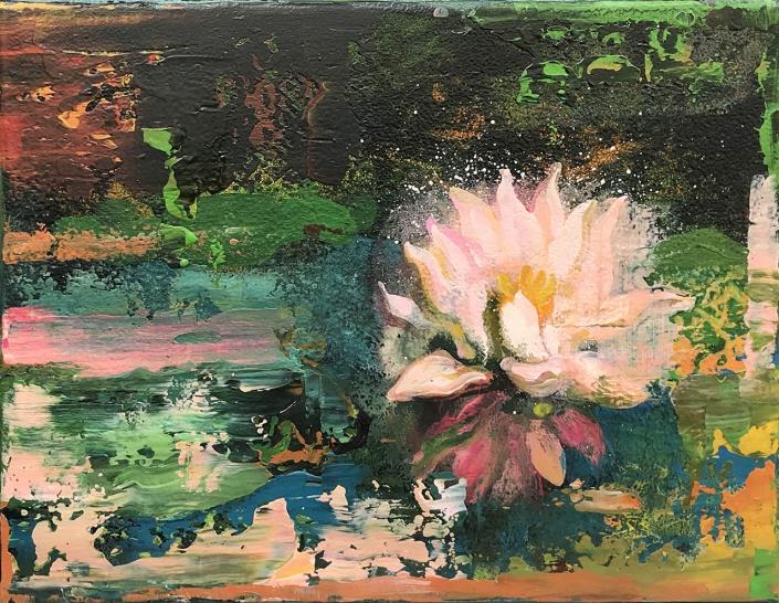 nymphéales - 27 x 35 cm - Acrylique, pigments et poudre de marbre sur toile - 2020