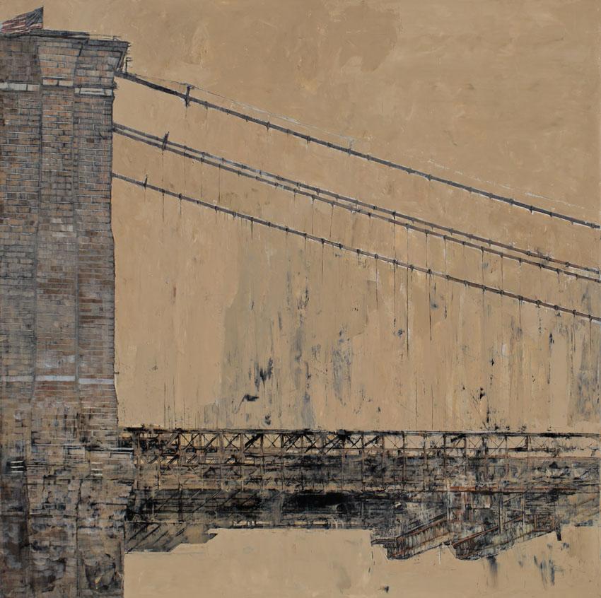 Brooklyn Bridge - Huile et feuille d'argent sur toile - 130 x 130 cm - 2017