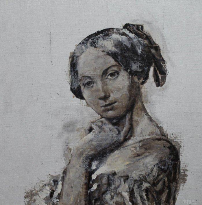 Comtesse - 50 x 50 cm - Huile et feuille d'argent sur toile - 2014