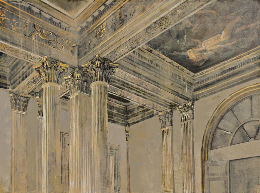 Pietropoli - Colonnade - Huile et feuille d'argent sur toile - 97 x 130 cm -2017