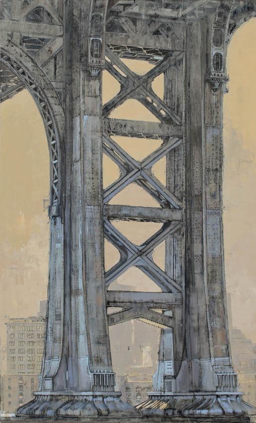 Pietropoli - Manhattan Bridge - Huile et feuille d'argent sur toile - 146 x 89 cm - 2017