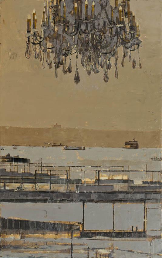 Pietropoli - Paysage avec lustre - Huile et feuille d'or sur toile - 73 x 116 cm - 2017