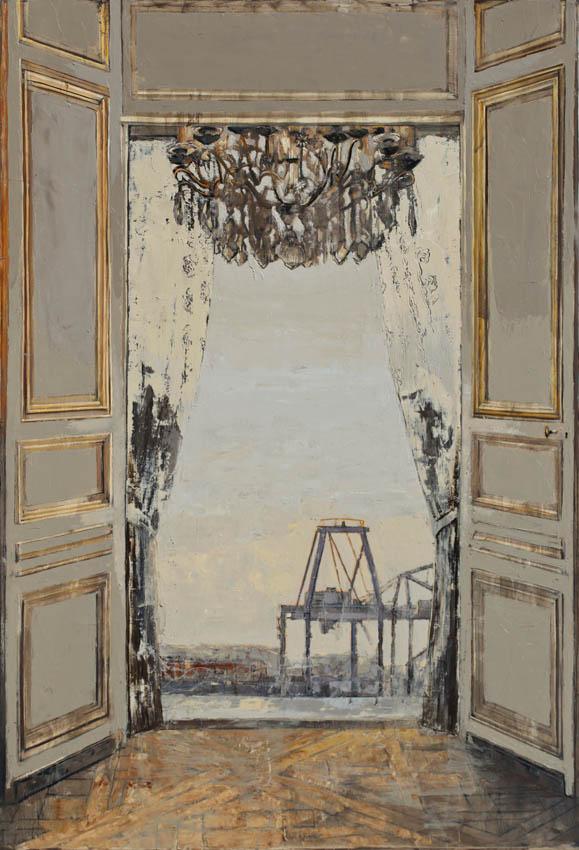 Pietropoli - Salon francais avec vue - Huile et feuille d'or sur toile - 130 x 89 cm - 2017