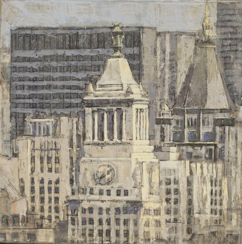 Union Square - Huile sur feuille d'argent sur toile - 40 x 40 cm - 2017