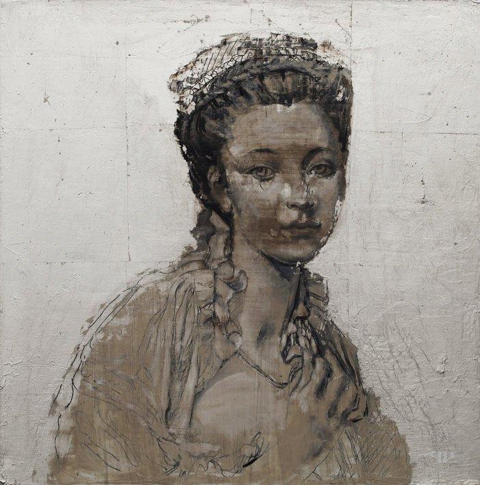 Duchesse - 50 x 50 cm - Huile et feuille d'argent sur toile - 2014