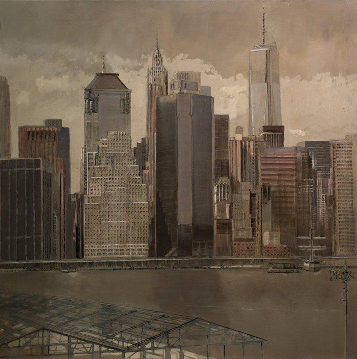 Financial Center I - Huile sur toile - 100 x 100 cm - 2015