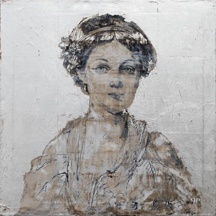 Jeune-fille-en-fleur - 50 x 50 cm - Huile et feuille d'argent sur toile - 2014