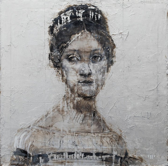 Marie-Vernet - 50 x 50 cm - Huile et feuille d'argent sur toile - 2014
