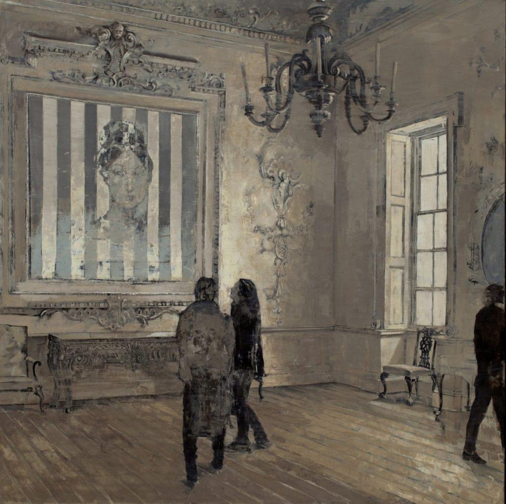 Marie Vernet au salon - 150x150 cm - Huile et feuille d'argent sur toile - 2014