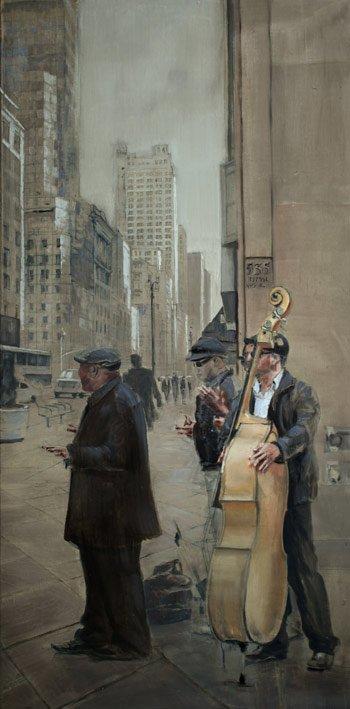 Musicians at Fiffh Ave - Huile sur toile - 101 x 51cm