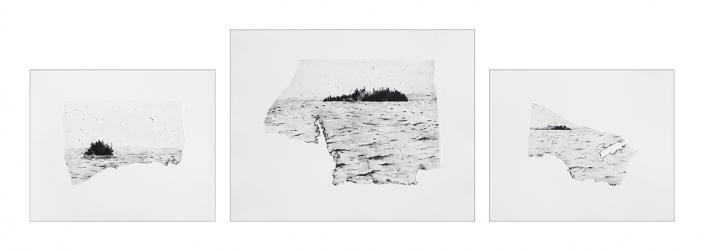 Memphrémagog - pointe sèche sur zinc / 3 gravures: 31,5 x 37 cm, 39 x 50 cm et 31,5 x 37 cm - Edition 15