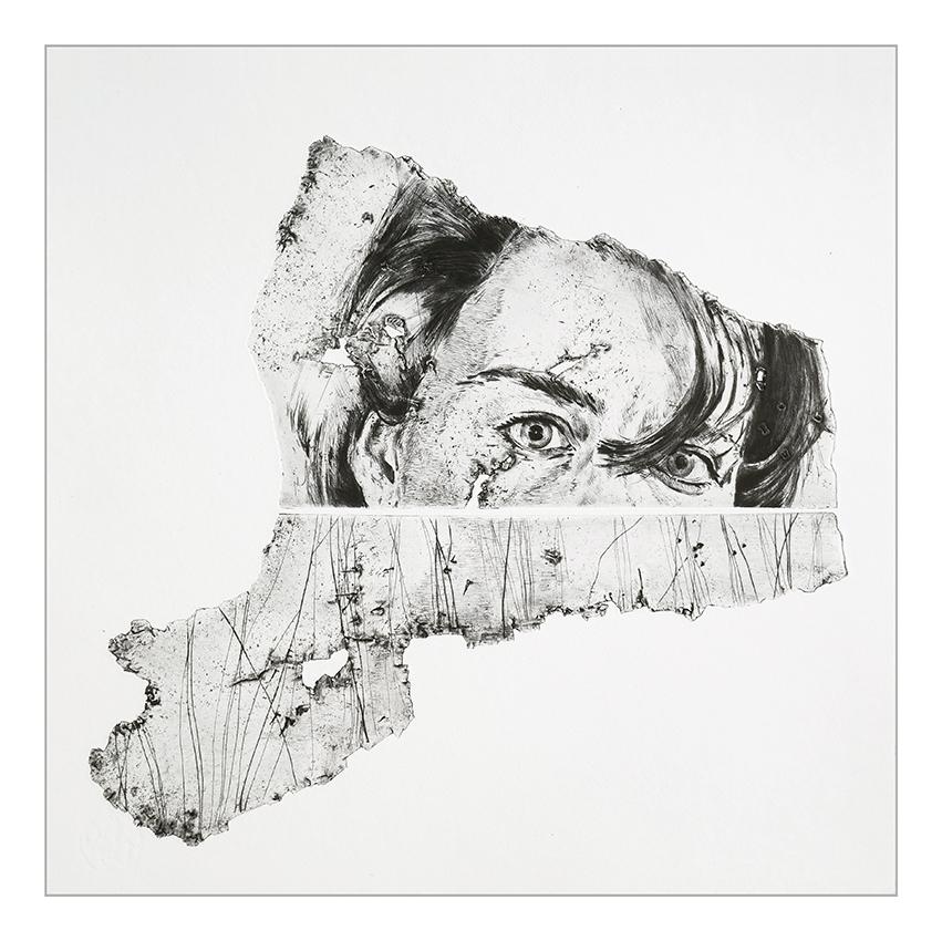 Jeanne S - Pointe sèche sur 2 plaques de zinc / 43 x 43 cm - Papier: Hahnemühle 300g - Edition 10