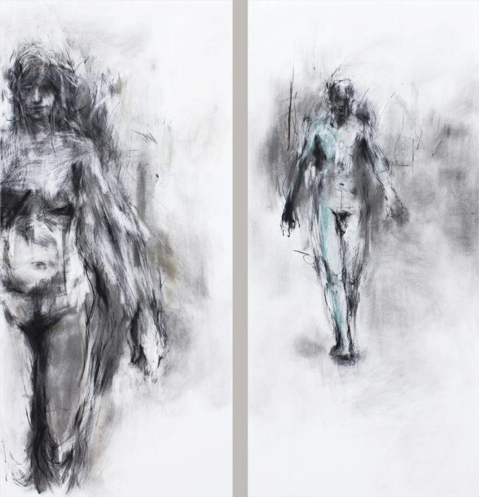 Camino con la belleza (diptyque) - 2011 - dessin - 140 x 132 cm