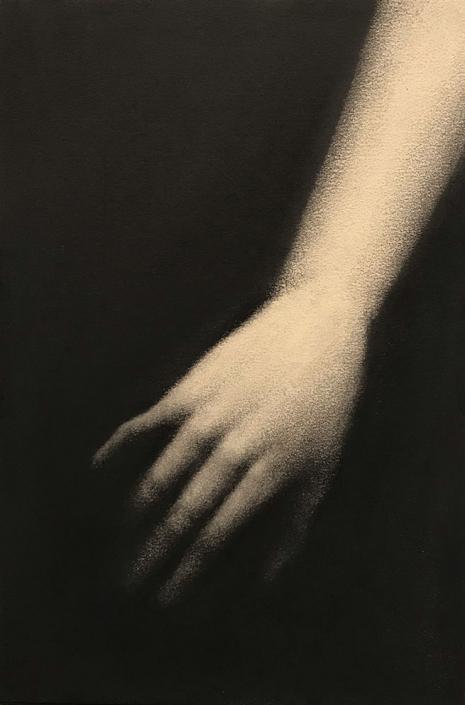 De l'air dans les doigts - 30 x 20 cm - Fusain sur papier marouflé sur Bois
