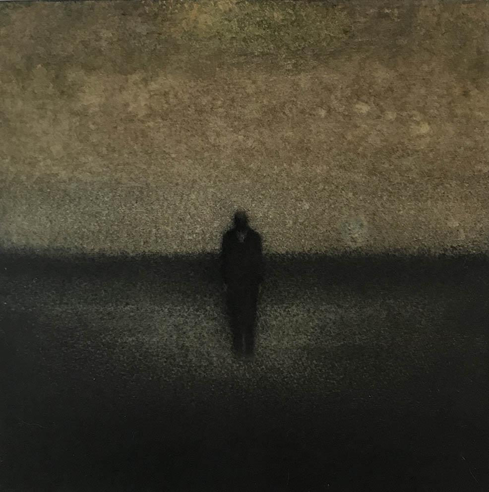 Marina Ho - En silence 6 - 20 x 20 cm - Fusain et aquarelle sur papier marouflé sur bois