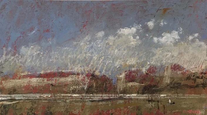 L.HOURS - Rouge lointain - 18 x 33 cm - Acrylique sur toile