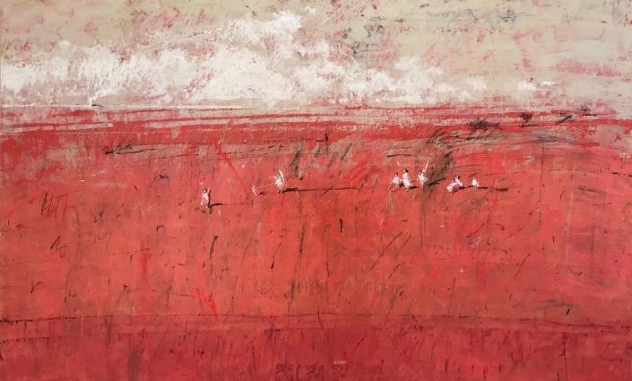 L.HOURS - La plage corail - 80 x 130 cm - Acrylique sur toile