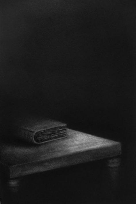MARINA HO - Le livre - 30 x 20 cm - Fusain sur papier marouflé sur bois - 2018