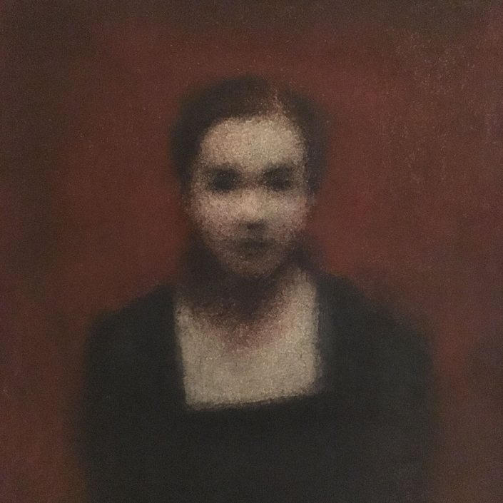 Marina Ho - Portrait sur fond rouge - 20 x 20 cm - Pastel et fusain - 20 X 20 cm