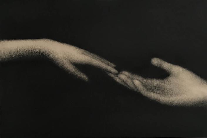 Marina Ho - Effleuré - 20 x 30 cm - Fusain sur papier marouflé sur bois - 2019