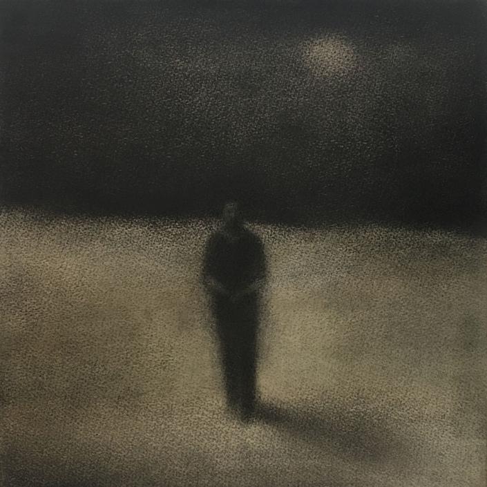 Nocturne - 30 x 30 cm - Fusain et aquarelle sur papier marouflé sur bois