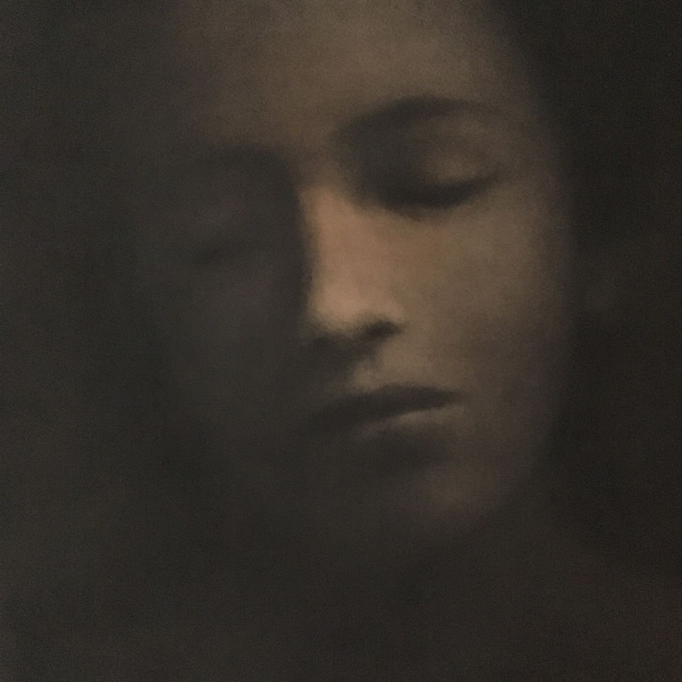 Portrait 1 - 60 x 60 cm - Fusain sur papier marouflé sur Bois