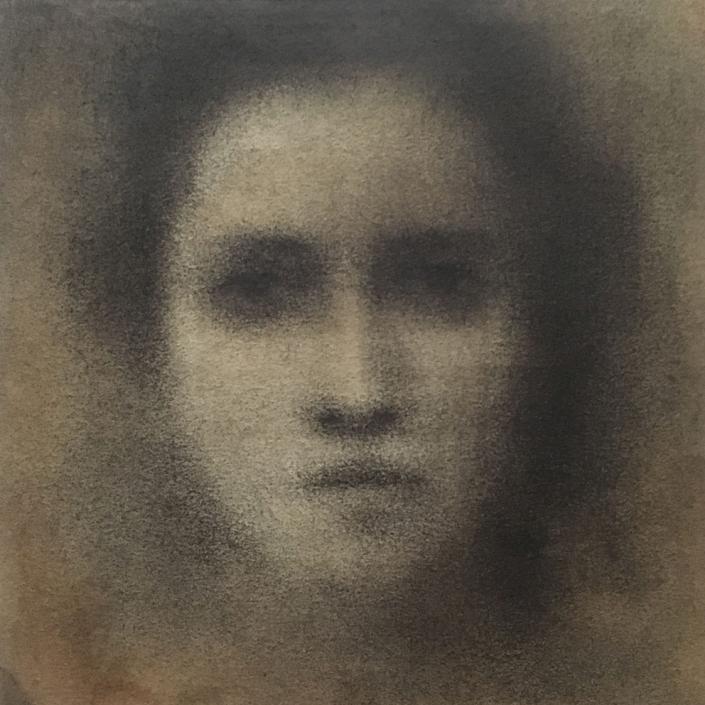 Portrait 3 - 20 x 20 cm - Fusain sur papier marouflé sur toile