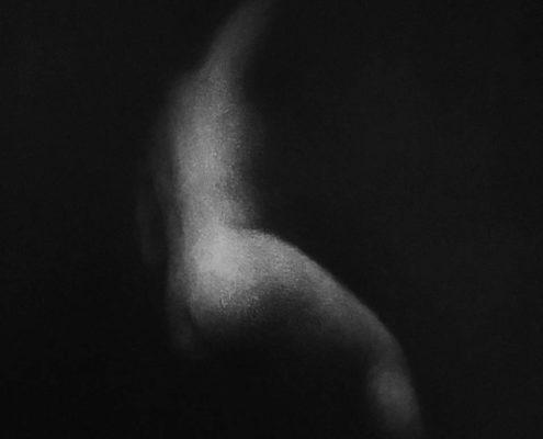 MARINA HO - N#1PF - Fusain sur papier marouflé sur bois - 2018 -