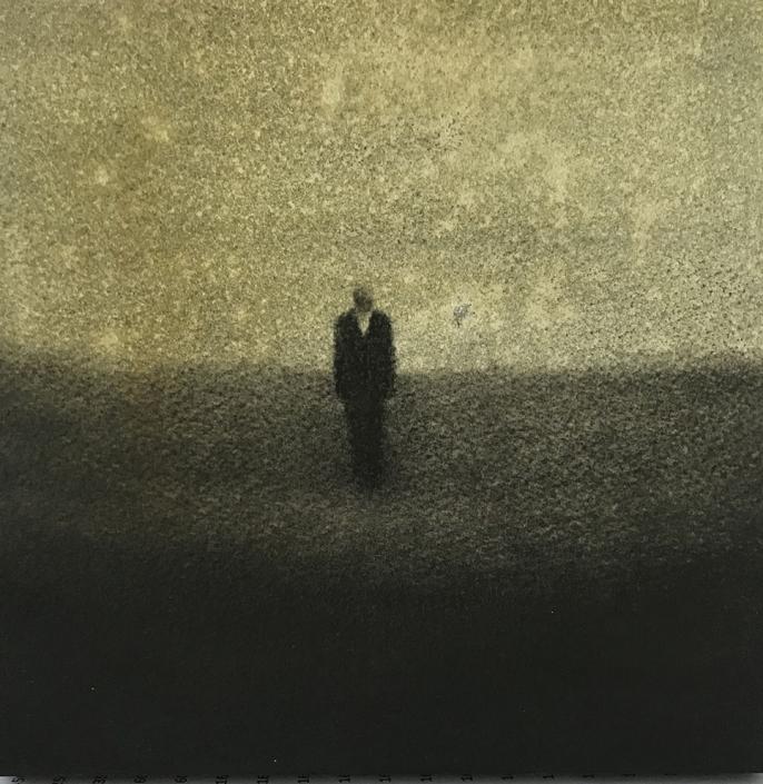 Marina Ho - Marcher en silence 2 - 20 x 20 cm - Fusain et aquarelle sur papier / Bois - 2020