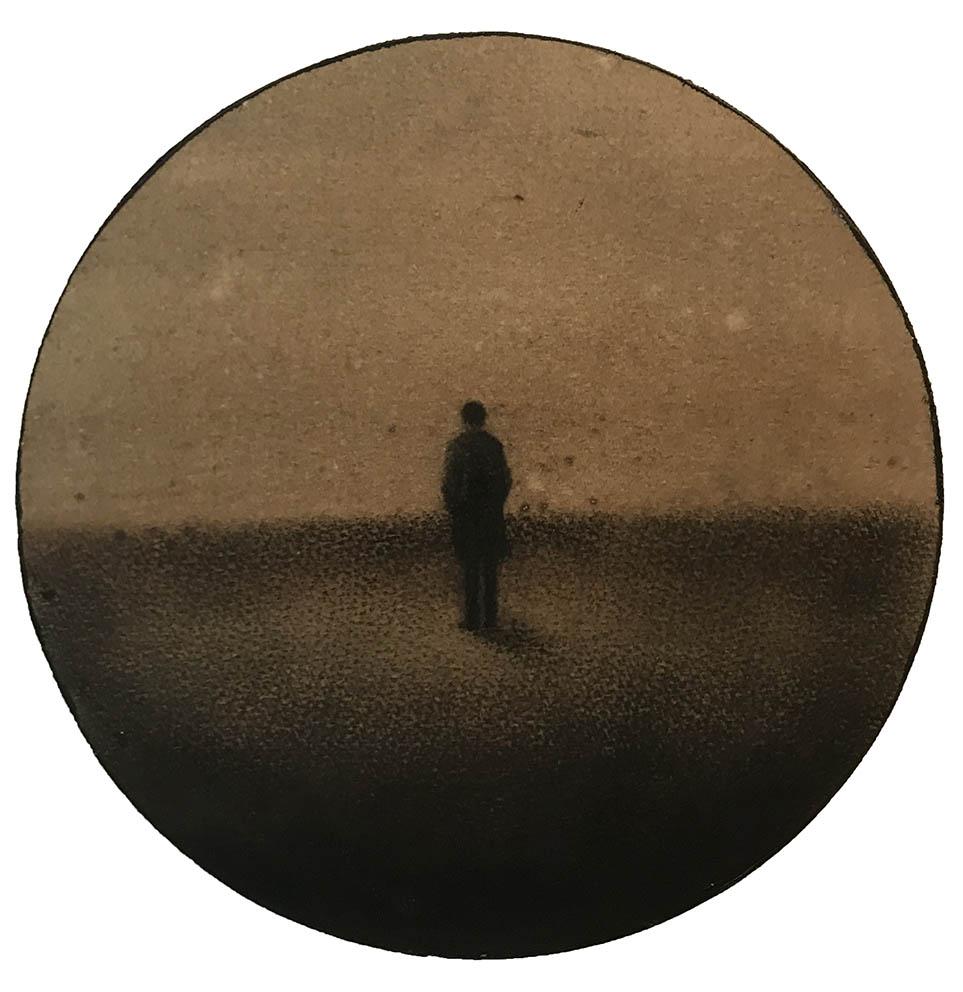 Marina Ho - En silence/Tondo - D/20 cm - Fusain et aquarelle sur papier marouflé sur bois