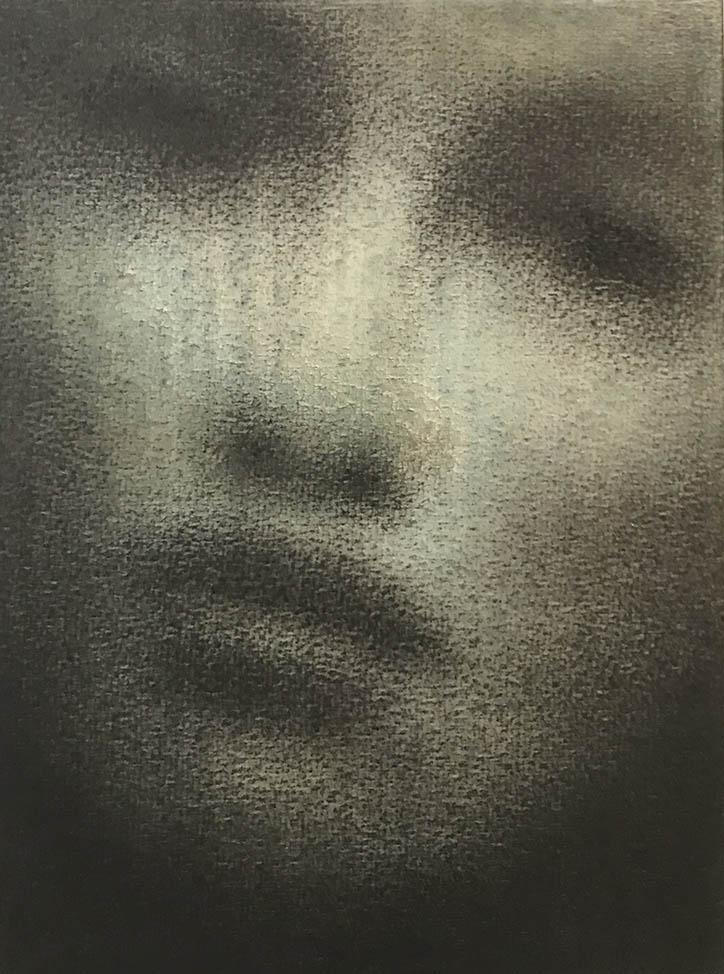 Marina Ho - Portrait 6 - 20 x 15 cm - Fusain et aquarelle sur papier marouflé sur bois