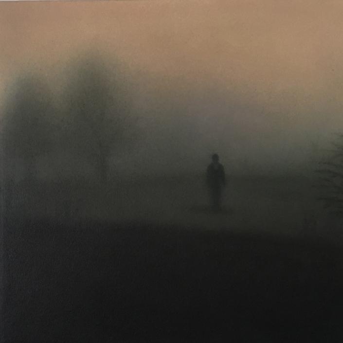 Landscape V - 30 x 30 cm - Huile sur papier marouflé sur toile
