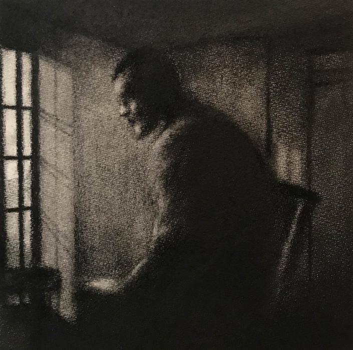 Marina Ho - A la fenêtre - 20 x 20 cm - Fusain et aquarelle sur papier marouflé sur bois