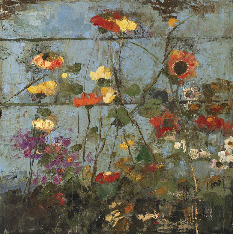 Goxwa - Old fence wild flowers - 100 x 100 cm - Oil and wax on canvas