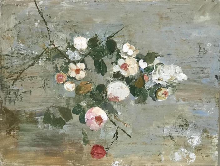 Goxwa - Flowers - 47 x 61 cm - Huile et cire sur toile