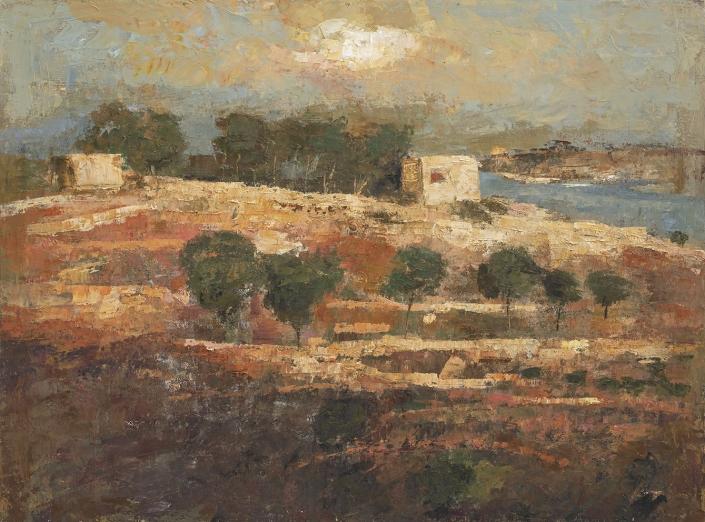Goxwa - The valley of Qala - 97 x 130 cm - Huile et cire sur toile