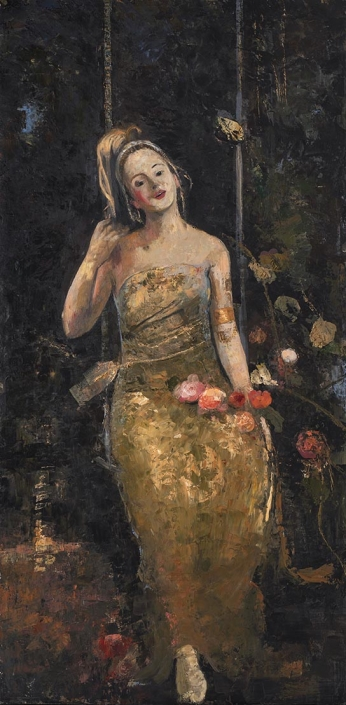 Goxwa - Girl on the swing - 195 x 97 cm - Oil and wax on canvas